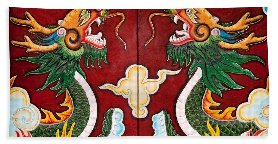 Vietnam Bath Sheet featuring the photograph Door Dragons 03 by Rick Piper Photography