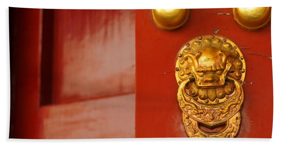 China Hand Towel featuring the photograph Door Handle by Sebastian Musial