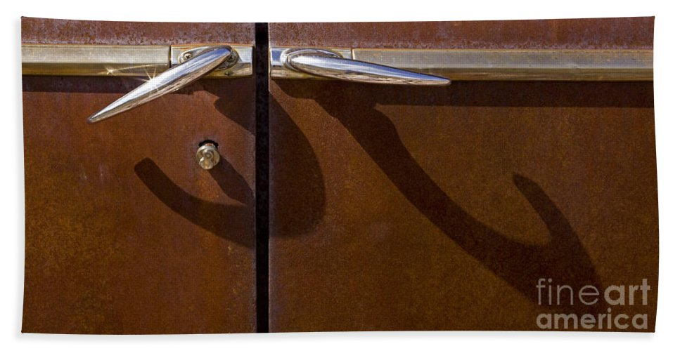Auto Door Handles Bath Sheet featuring the photograph Door Handle Shadows  #0969 by J L Woody Wooden