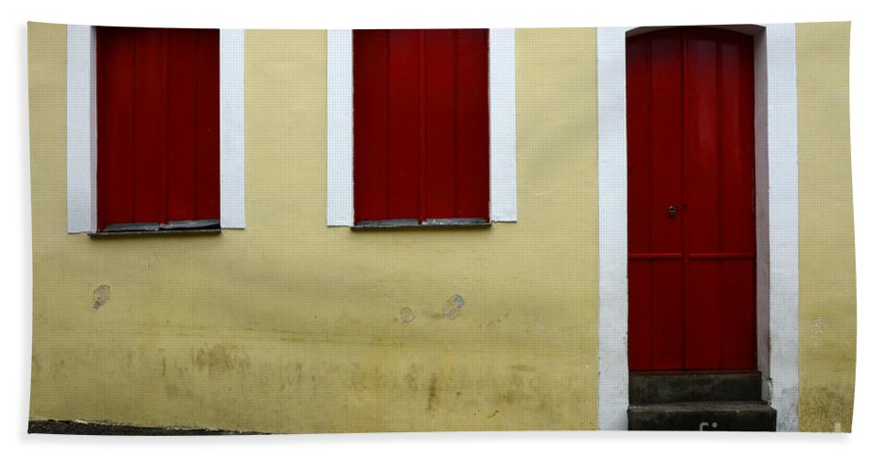 Red Bath Sheet featuring the photograph Doors And Windows Salvador Brazil 1 by Bob Christopher