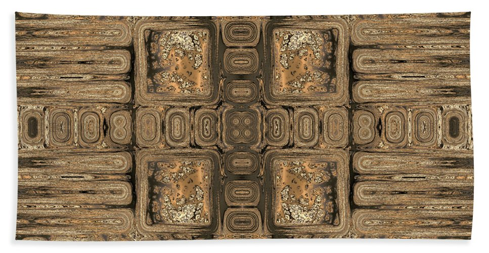 Geometric Hand Towel featuring the digital art Doors Of Zanzibar Allspice by Judi Suni Hall