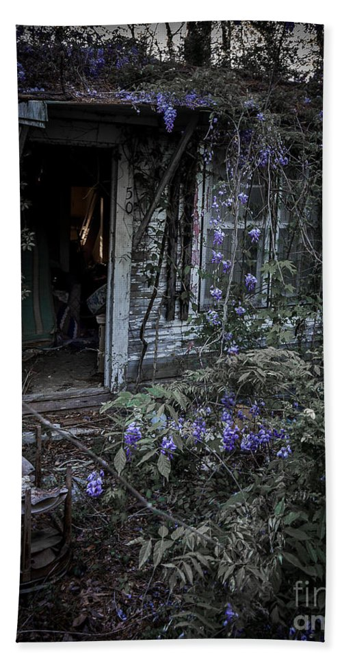 Abandoned Hand Towel featuring the photograph Doorway And Flowers by Ken Frischkorn