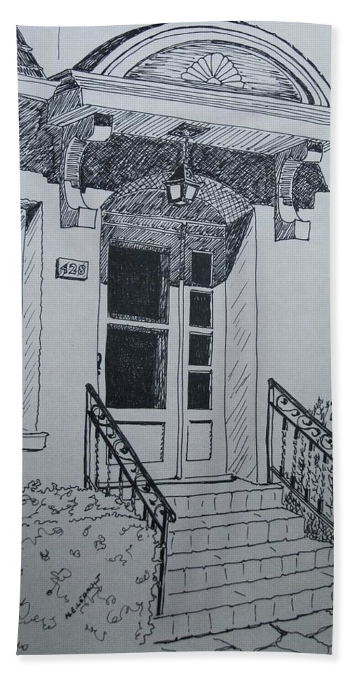 Pen And Ink Bath Sheet featuring the drawing Doorway by Mary Ellen Mueller Legault