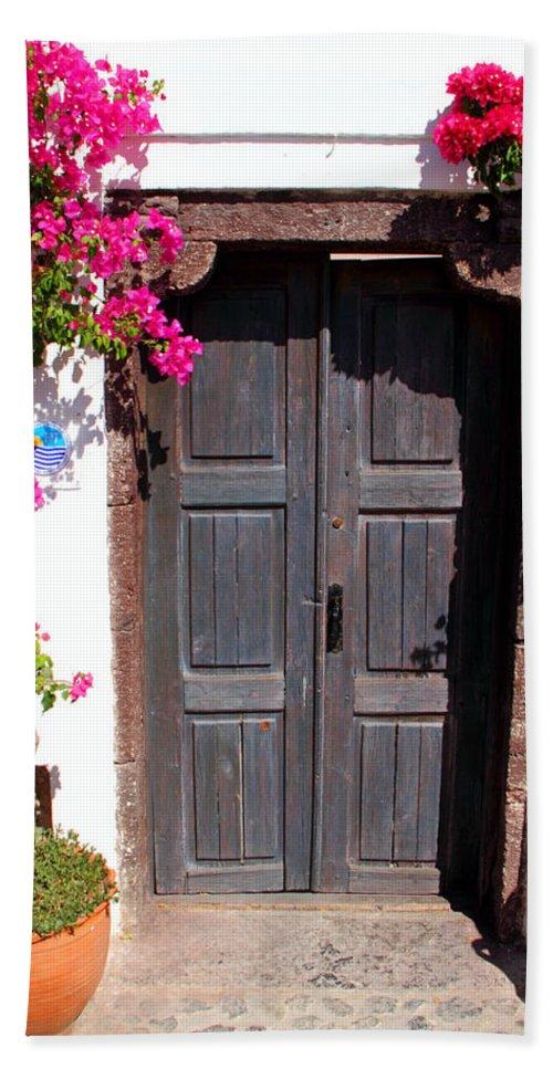 Oia Bath Sheet featuring the photograph Doorway Oia Santorini Greek Islands by Carole-Anne Fooks