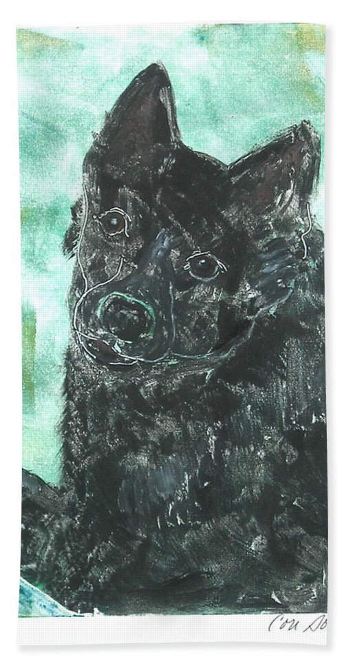 Schipperke Hand Towel featuring the mixed media Doting Eyes by Cori Solomon