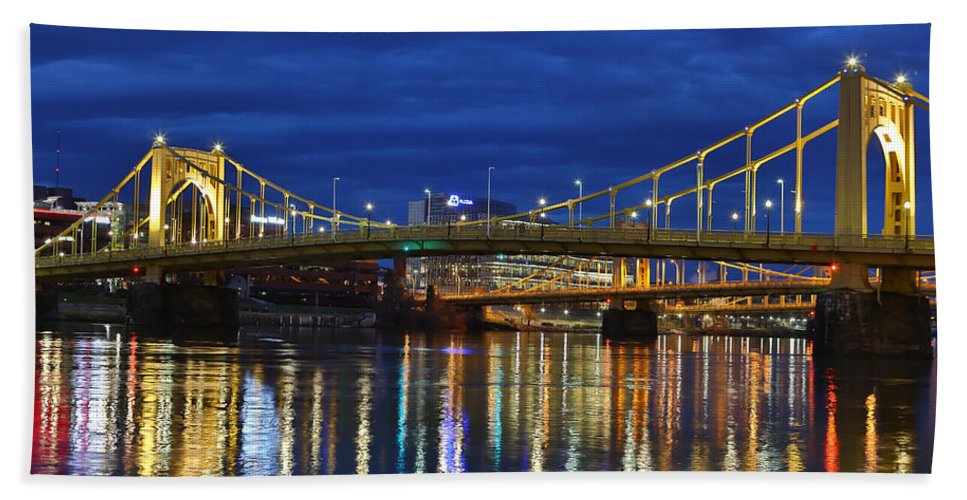 Pittsburgh Pa. Pennsylvania Andy Warhol Warhola Skyline Bridge Skyline Skycap Urban Urbanx Taaffe Jimmy City Bridge North Shore Color Bath Sheet featuring the photograph Double Agent by Jimmy Taaffe