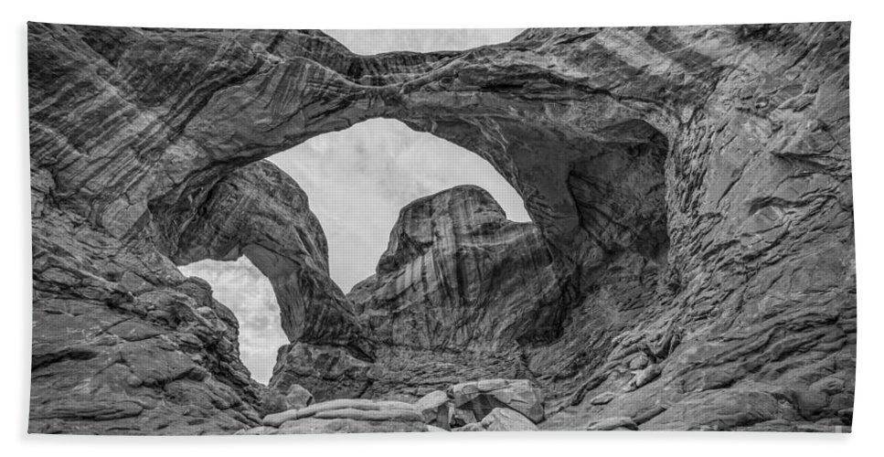 Delicate Bath Sheet featuring the photograph Double Arches Bw by Michael Ver Sprill
