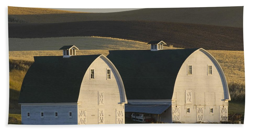 Agricultural Bath Sheet featuring the photograph Double Barns by John Shaw