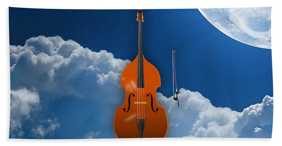 Upright Bass Bath Sheet featuring the mixed media Double Bass by Marvin Blaine