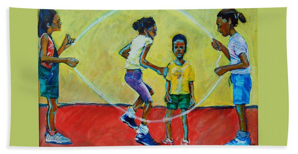 Play Bath Towel featuring the painting Double Dutch by Charles M Williams