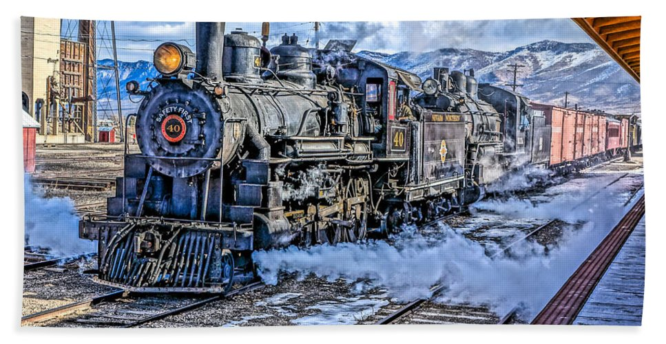 Train Hand Towel featuring the photograph Double Header Nevada Northern Railway #1 by Tom and Pat Cory