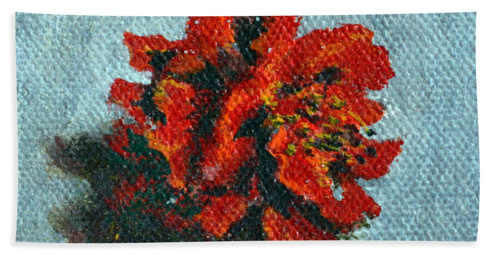 Double Hand Towel featuring the painting Double Hibiscus by Usha Shantharam