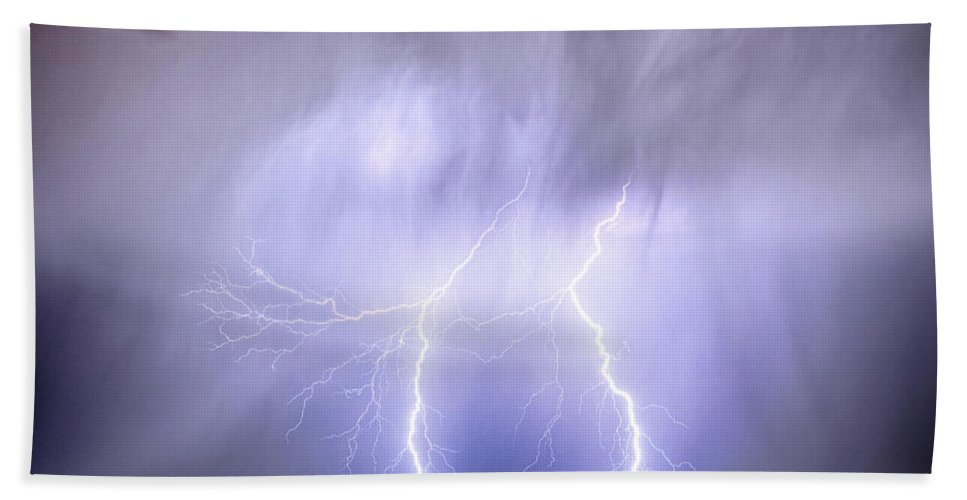 Lightning Bath Sheet featuring the photograph Double Lightning Strike Harmony by James BO Insogna