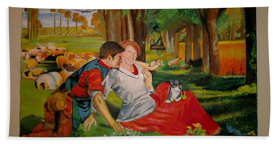 Hand Towel featuring the painting double portrait of freinds Gunner and Jessie by Jude Darrien