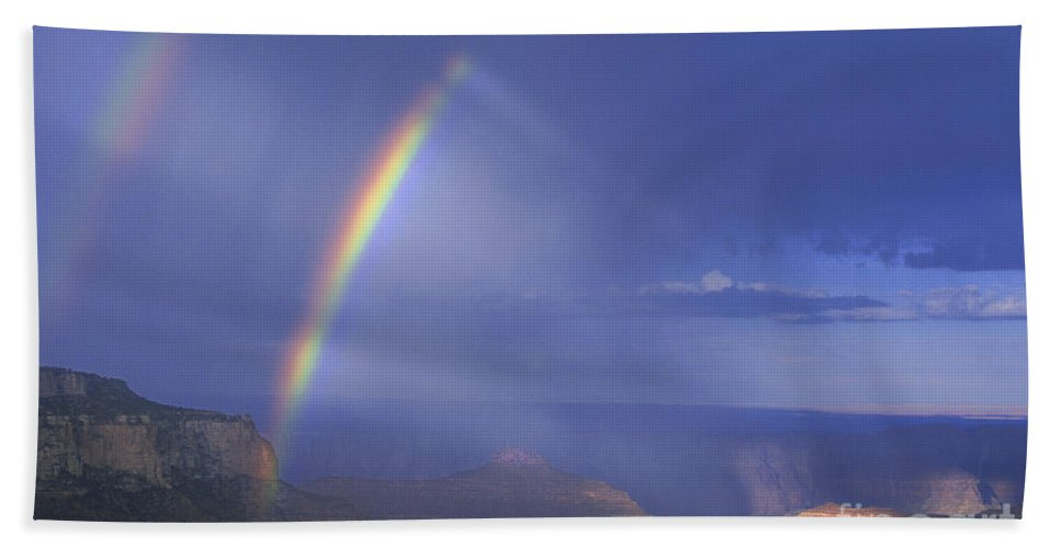 North America Bath Towel featuring the photograph Double Rainbow At Cape Royal Grand Canyon National Park by Dave Welling