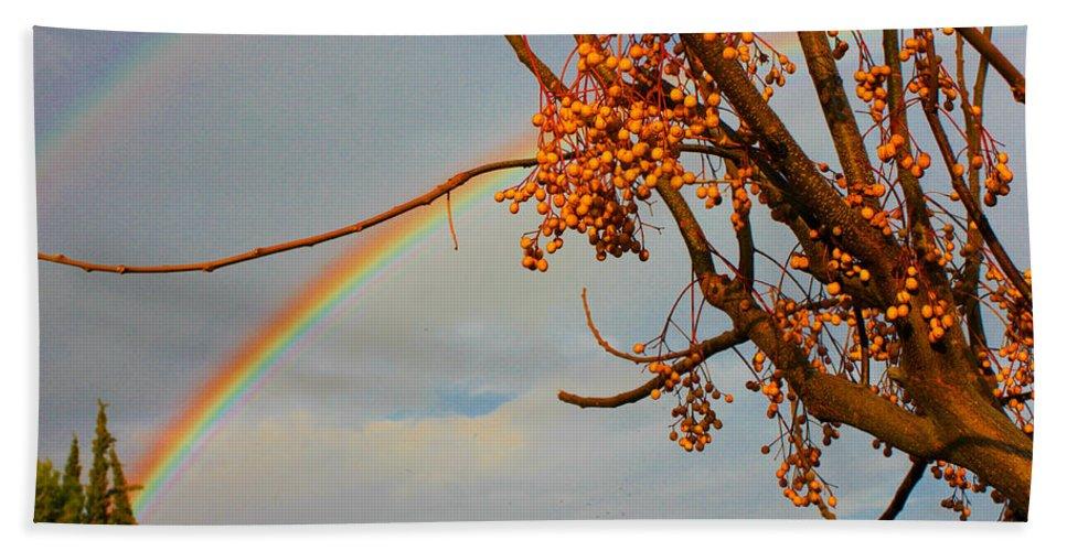 Rainbow Hand Towel featuring the photograph Double Rainbow by Augusta Stylianou