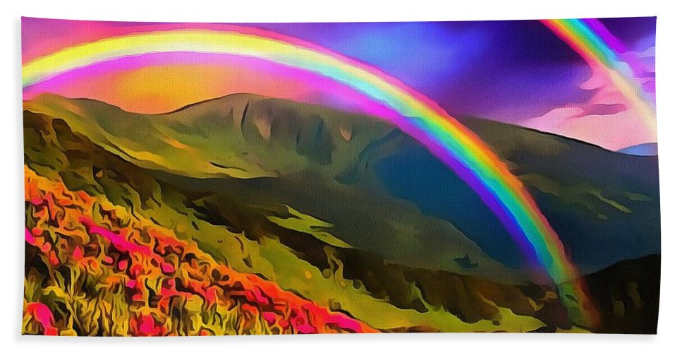 Double Rainbow Bath Sheet featuring the digital art Double Rainbow by Catherine Lott