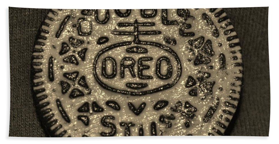 Oreo Bath Sheet featuring the photograph Double Stuff Oreo In Sepia Negitive by Rob Hans