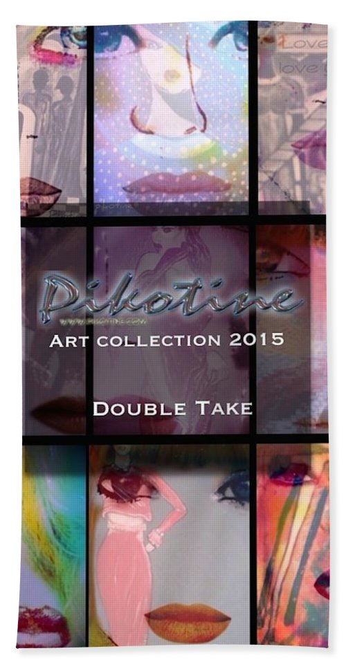 Double Take Art Collection Hand Towel featuring the digital art Double Take Art Collection by Pikotine Art