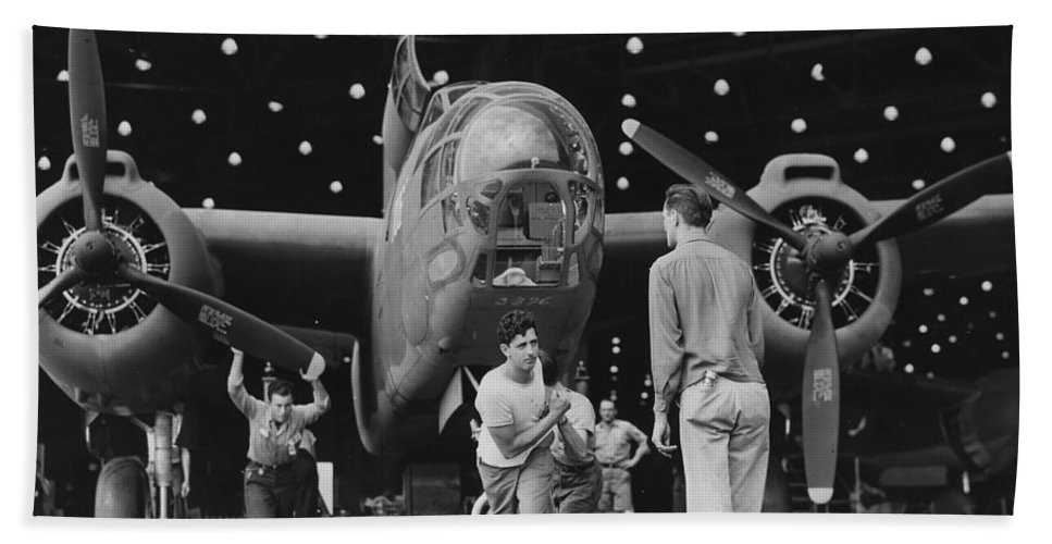 Douglas A20 Hand Towel featuring the photograph Douglas A20 Bomber by Georgia Fowler