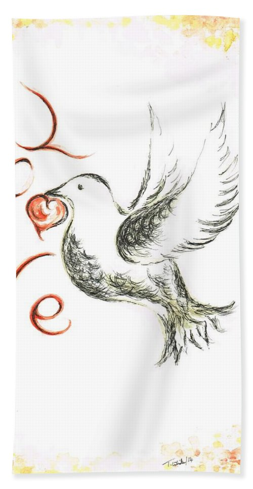 Teresa Hand Towel featuring the painting Dove Of Love by Teresa White