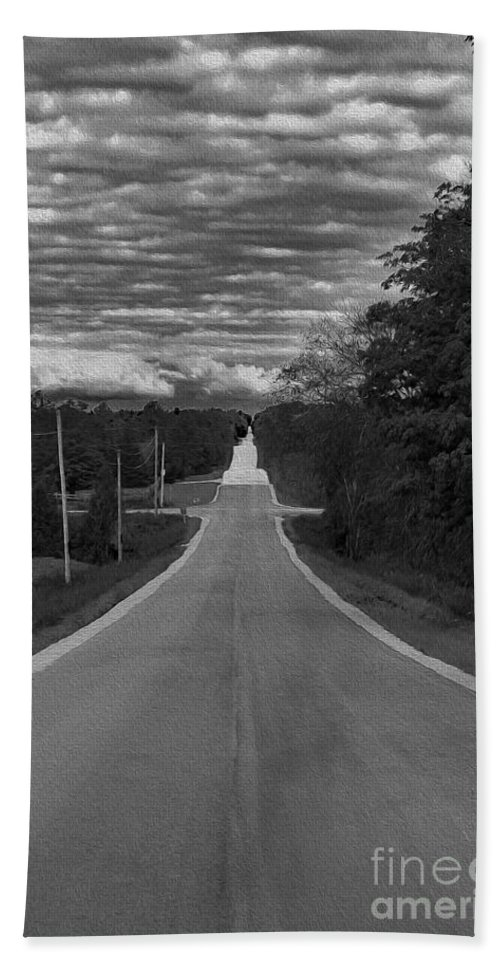 Black And White Bath Sheet featuring the photograph Down A Country Road by Nina Silver