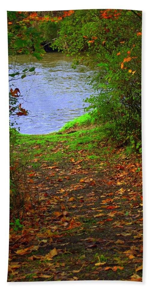 Autumn Bath Sheet featuring the photograph Down By The River by Tikvah's Hope