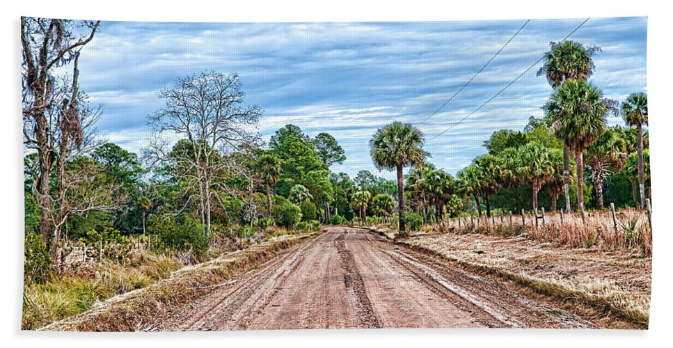 Dirt Road Hand Towel featuring the photograph Down Chisolm Island Road by Scott Hansen