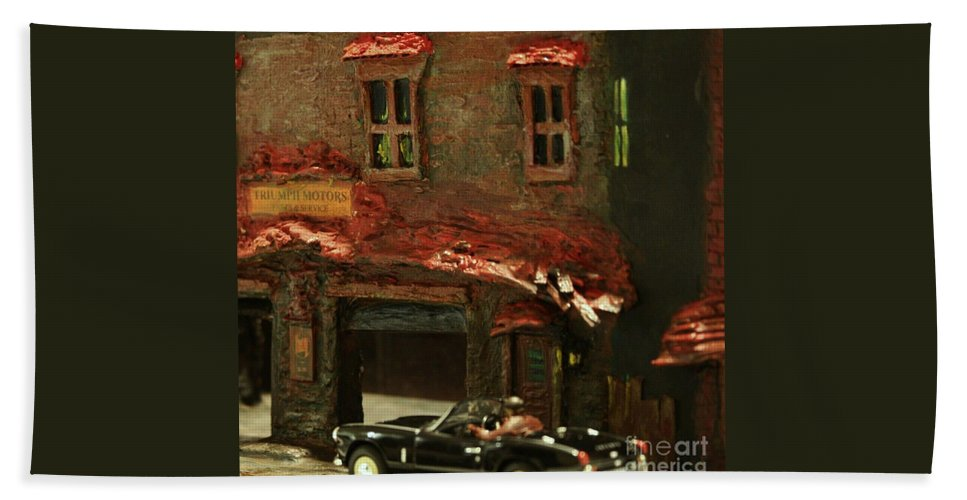 Classic Cars Hand Towel featuring the mixed media Down In The Alley by William Bezik