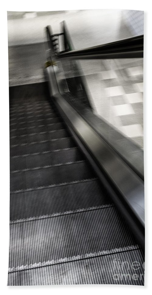 Escalator Hand Towel featuring the photograph Down by Margie Hurwich