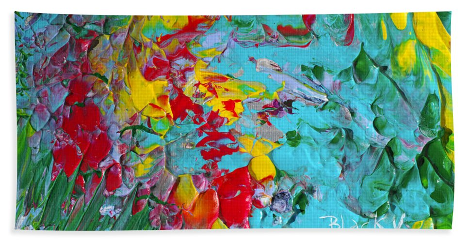 Bold Abstract Hand Towel featuring the painting Down The Garden Path by Donna Blackhall