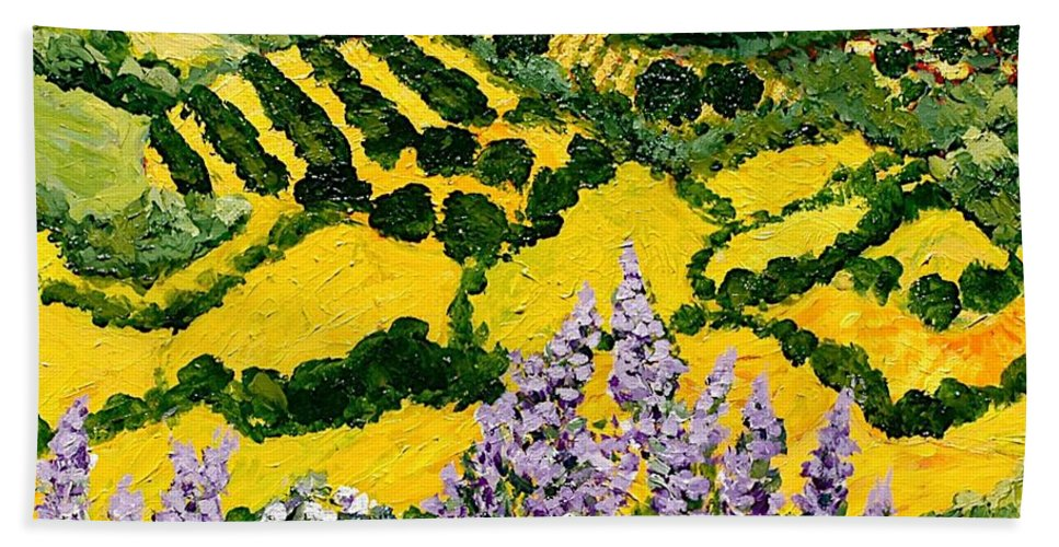 Landscape Bath Sheet featuring the painting Down The Hill by Allan P Friedlander