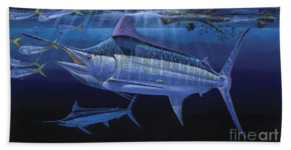 Marlin Bath Sheet featuring the painting Down Under Off0055 by Carey Chen