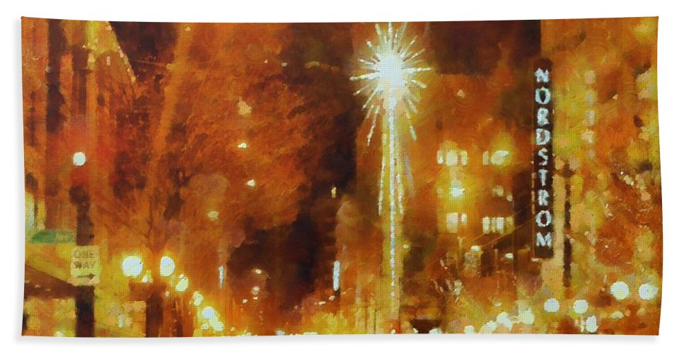 Seattle Hand Towel featuring the painting Downtown 6th St Seattle In Dec by Janice MacLellan