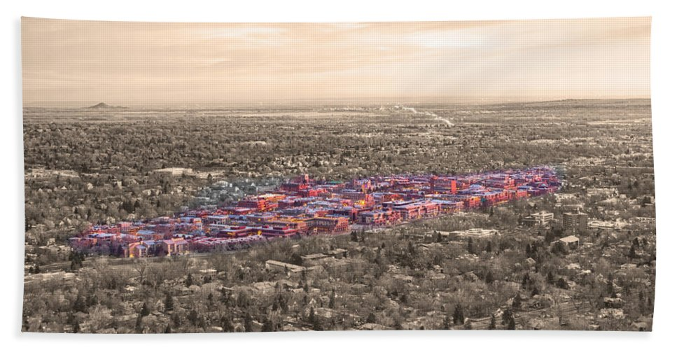 Boulder Colorado Bath Sheet featuring the photograph Boulder Colorado Twenty-five Square Miles Surrounded By Reality by James BO Insogna