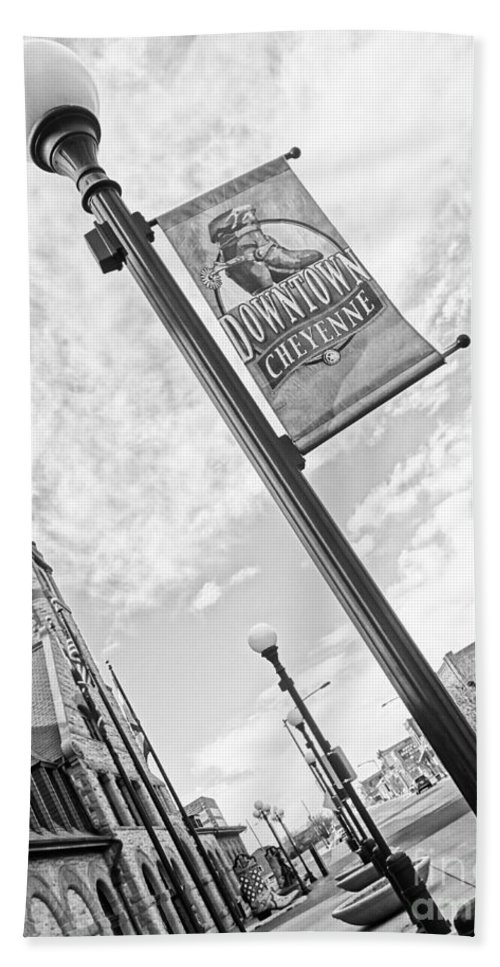 Cheyenne Bath Sheet featuring the photograph Downtown Cheyenne by Korynn Neil