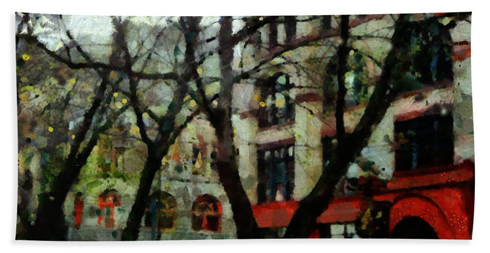 Citysapes Hand Towel featuring the painting Downtown by Janice MacLellan