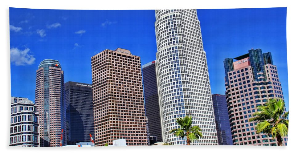 Downtown Los Angeles Hand Towel featuring the photograph Downtown Los Angeles by Mariola Bitner