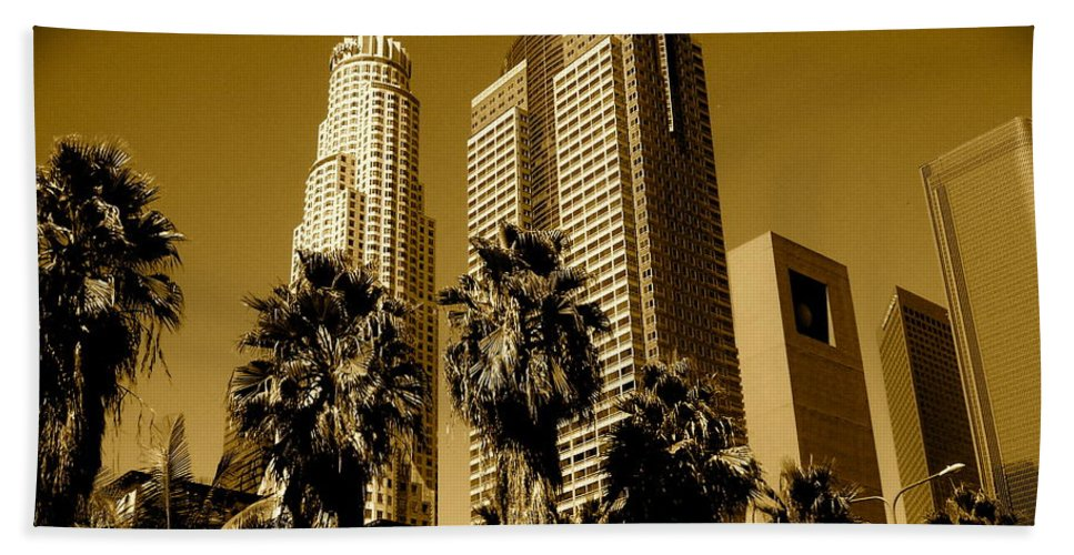 Los Angeles Prints Hand Towel featuring the photograph Downtown Los Angeles by Monique's Fine Art