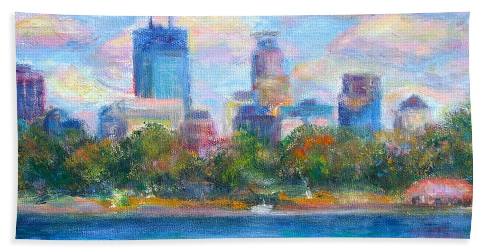 Quin Sweetman Bath Sheet featuring the painting Downtown Minneapolis Skyline from Lake Calhoun by Quin Sweetman