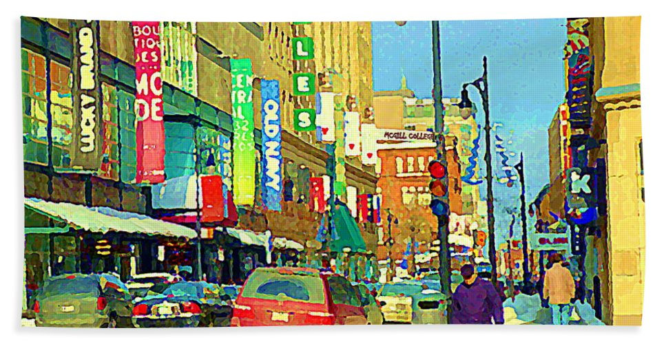 Downtown Montreal Hand Towel featuring the painting Downtown Montreal Eatons Centre Complex Les Ailes Old Navy Rue Mcgill College City Scenes C Spandau by Carole Spandau