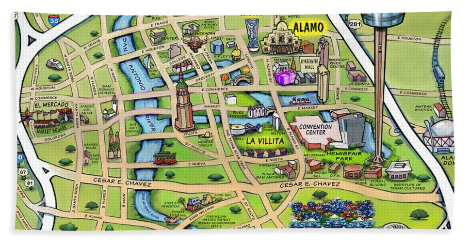 Downtown San Antonio Texas Cartoon Map Hand Towel for Sale by Kevin