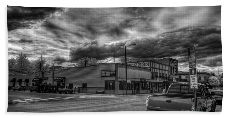 Idaho Hand Towel featuring the photograph Downtown Sandpoint In Infrared 2 by Lee Santa