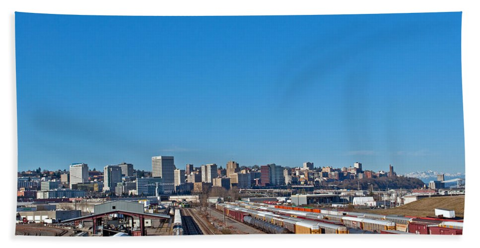 Downtown Tacoma Bath Sheet featuring the photograph Downtown Tacoma View From The Rail Lines by Tikvah's Hope