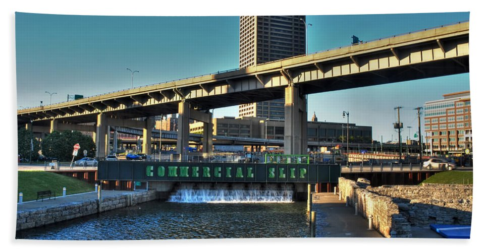 Commercial Slip Hand Towel featuring the photograph Downtown View From The Harbor by Michael Frank Jr