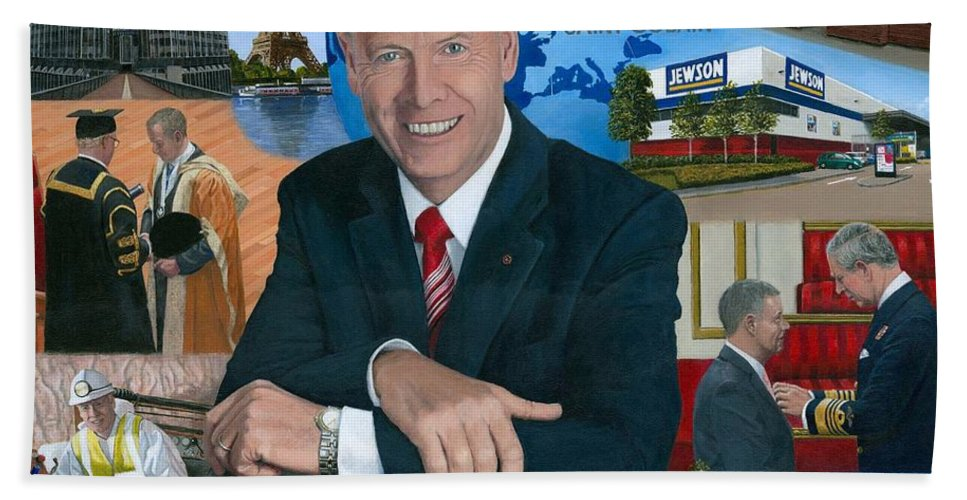 Peter Hindle Bath Towel featuring the painting Dr Peter Hindle Mbe by Richard Harpum
