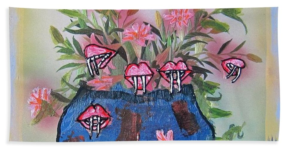 Flowers Bath Sheet featuring the painting Dracula Vampira Orchid by Lisa Piper