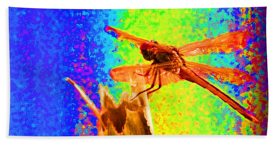 Dragon Fly Hand Towel featuring the photograph Dragon Fly- Creative by Miguel Hernandez