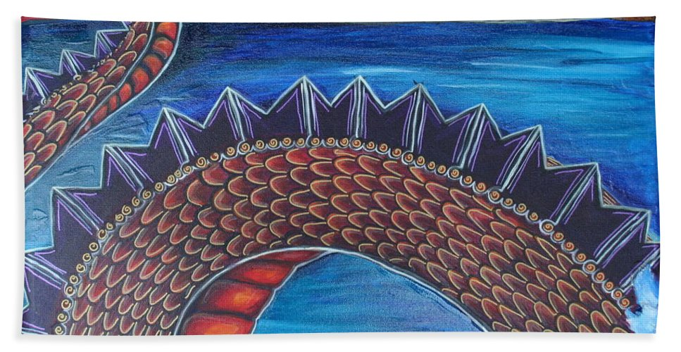 Dragon Hand Towel featuring the painting Dragon One by Kate Fortin
