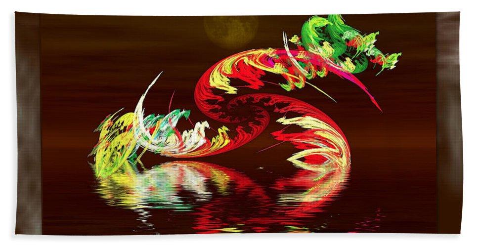 Apophysis Hand Towel featuring the digital art Dragon Spawn by Mario Carini